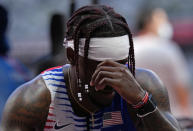 Cravon Gillespie, of United States reacts after finishing a semifinal of the men's 4 x 100-meter relay at the 2020 Summer Olympics, Thursday, Aug. 5, 2021, in Tokyo, Japan. (AP Photo/Francisco Seco)