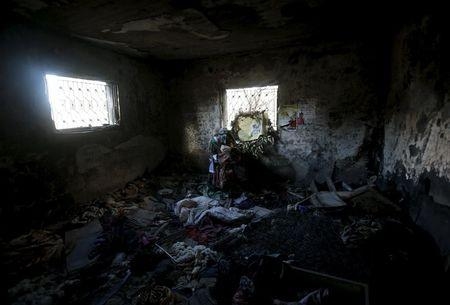 The interior of the torched house of the Dawabsheh family is seen at Duma village near the West Bank city of Nablus, December 3, 2015. REUTERS/Abed Omar Qusini