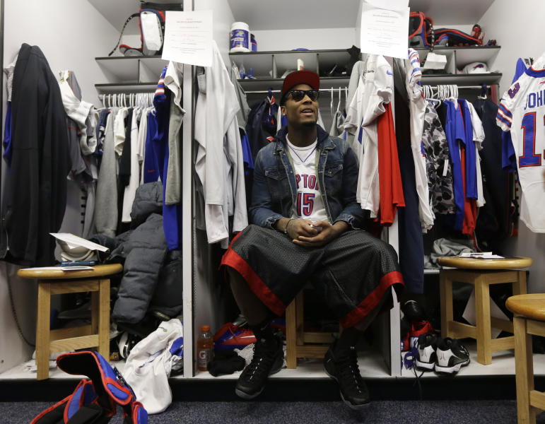 Buffalo Bills wide receiver Stevie Johnson sites in a locker as Bills players clean out their lockers at the NFL football team's practice facility, Monday, Dec. 31, 2012, in Orchard Park, N.Y. Buffalo finished the season 6-10. (AP Photo/Mike Groll)