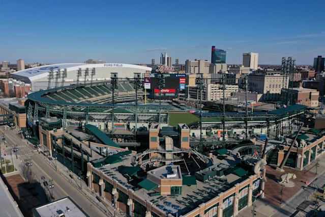 While the owners of the Detroit Tigers committed to paying workers who lost games at their spring training facility, no arrangements have been made for those who would have been staffing regular season games at Comerica Park. (Photo by Gregory Shamus/Getty Images)