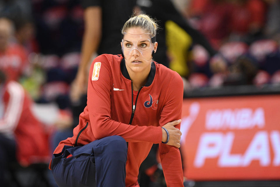 Washington Mystics forward Elena Delle Donne warms up before Game 1 of a WNBA playoff basketball series against the Las Vegas Aces, Tuesday, Sept. 17, 2019, in Washington. (AP Photo/Nick Wass)