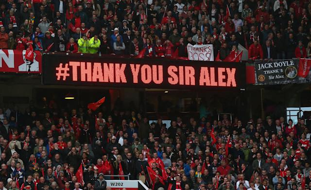 MANCHESTER, ENGLAND - MAY 12: A Thank You message for Manchester United Manager Sir Alex Ferguson is displayed following the Barclays Premier League match between Manchester United and Swansea City at Old Trafford on May 12, 2013 in Manchester, England. (Photo by Alex Livesey/Getty Images)