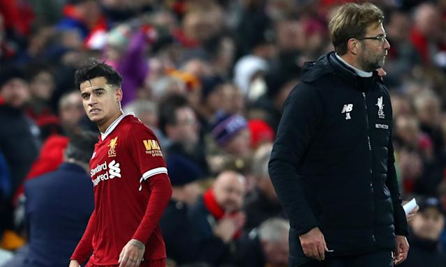 Philippe Coutinho is substituted by Jürgen Klopp in his last Liverpool appearance, against Leicester on 30 December.