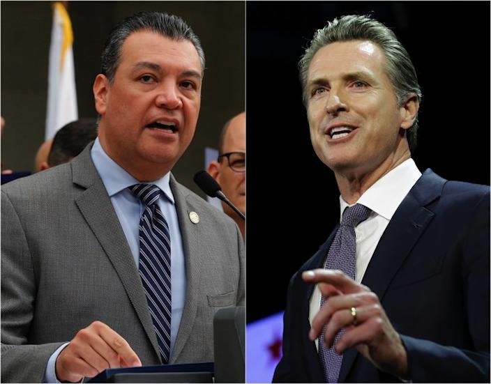 """The appointment of Alex Padilla, left, to the U.S. Senate by California Gov. Gavin Newsom seems an obvious choice in retrospect. <span class=""""copyright"""">(Associated Press)</span>"""
