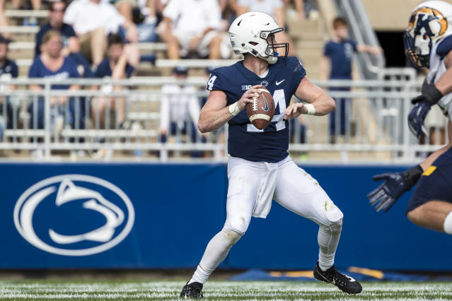 Penn State QB Sean Clifford saw action in four games in 2018. He is the favorite to start in 2019. (Photo by Scott Taetsch/Getty Images)