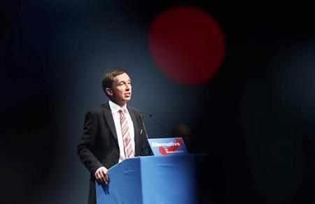 Bernd Lucke, party leader of Alternative for Germany party, speaks during a party meeting in Aschaffenburg