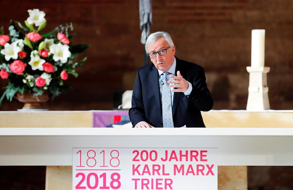 European Commission President Jean-Claude Juncker delivering a on Karl Marx in Germany today (Reuters)
