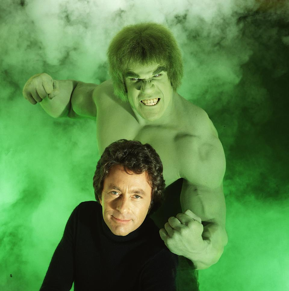 LOS ANGELES - MARCH 1:THE INCREDIBLE HULK cast member Lou Ferrigno as the 'Hulk' and Bill Bixby as David Bruce Banner. The television program originally aired on CBS from March 1978 to June 1982.  (Photo by CBS via Getty Images)