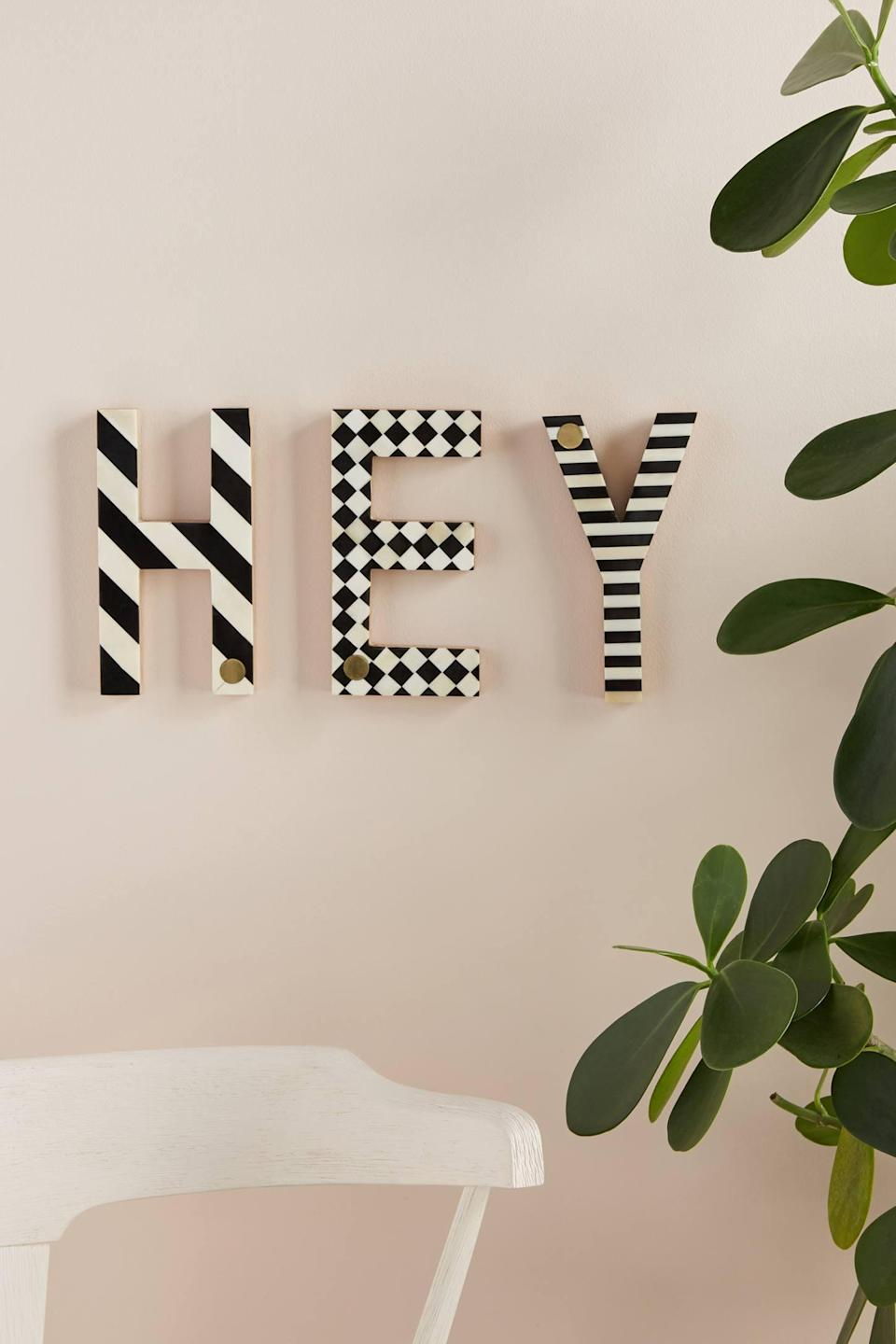 """<p>Make your own inspirational message with a few of these <a href=""""https://www.popsugar.com/buy/Darcy-Monogram-Letters-562170?p_name=Darcy%20Monogram%20Letters&retailer=anthropologie.com&pid=562170&price=24&evar1=casa%3Aus&evar9=47360872&evar98=https%3A%2F%2Fwww.popsugar.com%2Fhome%2Fphoto-gallery%2F47360872%2Fimage%2F47361108%2FDarcy-Monogram-Letter&list1=shopping%2Chome%20decor%2Cdecor%20shopping%2Chome%20shopping&prop13=api&pdata=1"""" class=""""link rapid-noclick-resp"""" rel=""""nofollow noopener"""" target=""""_blank"""" data-ylk=""""slk:Darcy Monogram Letters"""">Darcy Monogram Letters</a> ($24).</p>"""