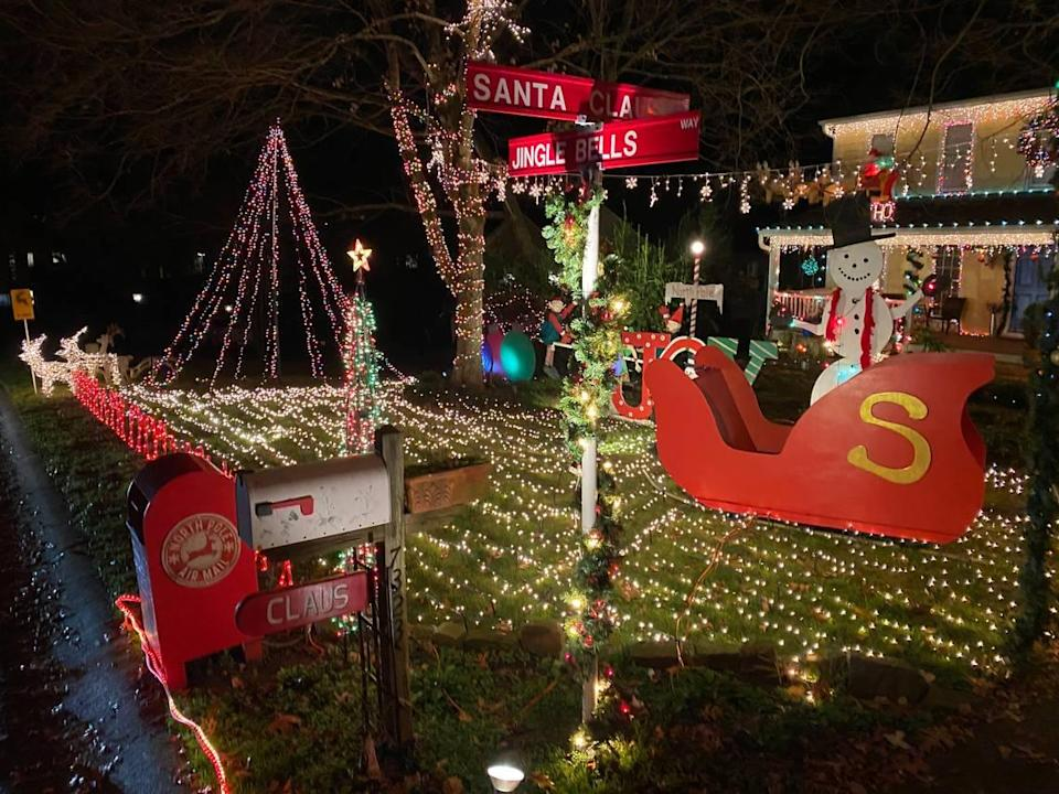 A house is decorated for the 2020 holidays on Sherwood Forest Drive in Old Providence in Charlotte.