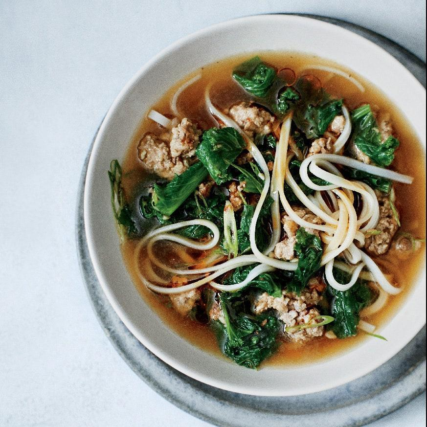 """Loads of greens will wilt down to a reasonable amount once you add them to a broth that's fragrant with garlic, ginger, Sichuan peppercorns, red pepper flakes, and cumin. A bit of ground pork adds richness. <a href=""""https://www.epicurious.com/recipes/food/views/spicy-pork-and-mustard-green-soup-51210260?mbid=synd_yahoo_rss"""" rel=""""nofollow noopener"""" target=""""_blank"""" data-ylk=""""slk:See recipe."""" class=""""link rapid-noclick-resp"""">See recipe.</a>"""