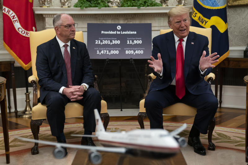President Donald Trump speaks during a meeting about the coronavirus with Gov. John Bel Edwards, D-La., in the Oval Office of the White House, Wednesday, April 29, 2020, in Washington. (AP Photo/Evan Vucci)