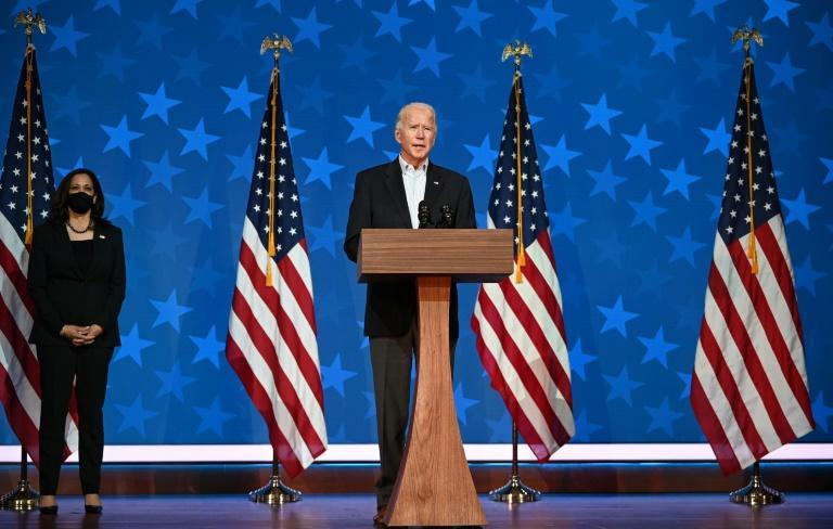 Joe Biden, speaking here on November 5, has moved to the cusp of victory in the US presidential election