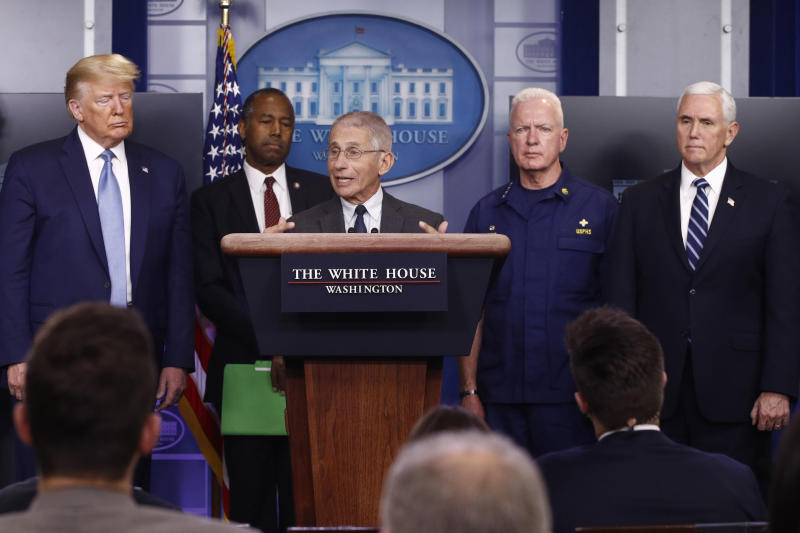 Director of the National Institute of Allergy and Infectious Diseases Dr. Anthony Fauci speaks during a coronavirus task force briefing at the White House, Saturday, March 21, 2020, in Washington. From left, President Donald Trump, Housing and Urban Development Secretary Ben Carson, Fauci, Adm. Brett Giroir, assistant secretary for health, and Vice President Mike Pence. (AP Photo/Patrick Semansky)
