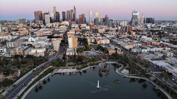 PHOTO: An aerial view shows MacArthur Park and downtown in the midst of the coronavirus pandemic, on April 15, 2020, in Los Angeles. (Mario Tama/Getty Images)