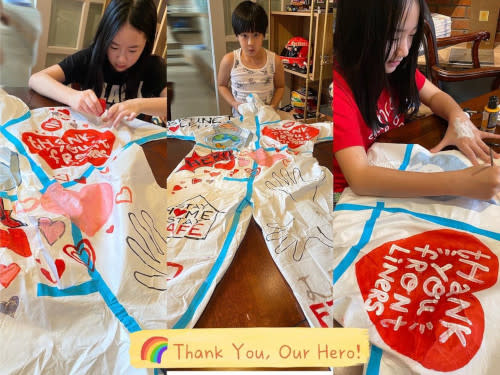 Wu Chun's children made these for the frontliners