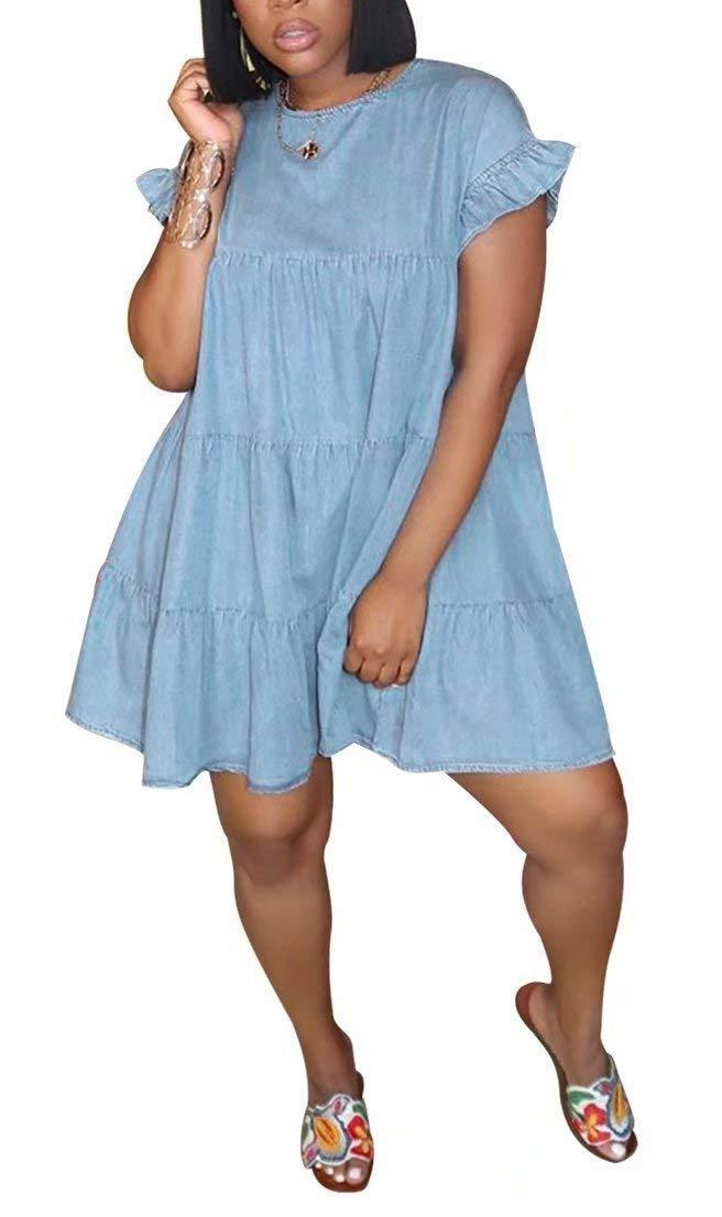 """<br><br><strong>LKOUS</strong> Summer Short Sleeve Round Neck Ruffles Mini Dress, $, available at <a href=""""https://amzn.to/3gNQyPs"""" rel=""""nofollow noopener"""" target=""""_blank"""" data-ylk=""""slk:Amazon"""" class=""""link rapid-noclick-resp"""">Amazon</a>"""