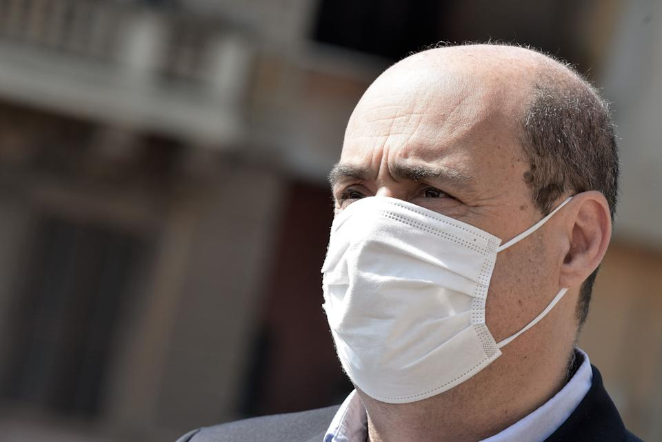 ROME, ITALY - APRIL 25: Nicola Zingaretti wears a protective mask during the celebration of the 75th anniversary of the liberation from Nazi-Fascism at Porta San Paolo ,Piramide,as lockdown continues due to the coronavirus outbreak on April 25, 2020 in Rome, Italy.  Italy is still on lockdown until May 4ththe celebration of April 25th in a deserted city due to the lockdown in places symbol of the Resistance where people brought flowers despite the prohibitions(Photo by Simona Granati - Corbis/ Getty Images) (Photo: Simona Granati - Corbis via Getty Images)