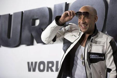 "Cast member Diesel poses at fans at the premiere of ""Furious 7"" at the TCL Chinese theatre in Hollywood"