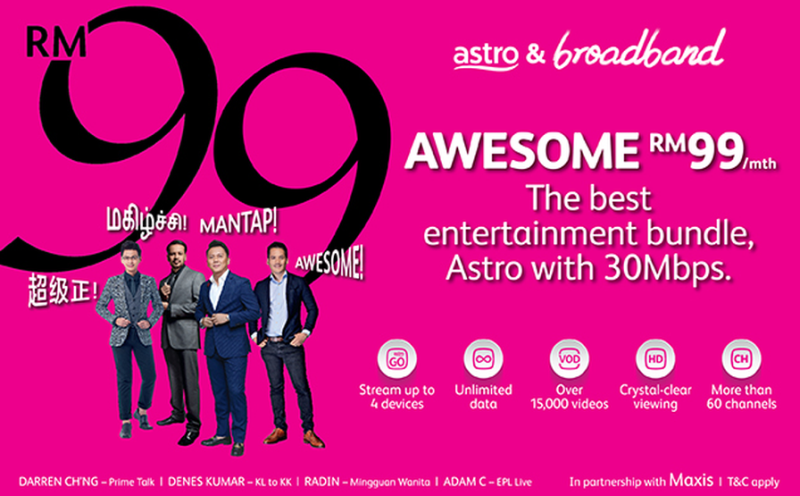 For RM99/month, you can enjoy Astro family pack and 30Mbps Maxis Fibre broadband that offer unlimited data quota. — Picture via SoyaCincau