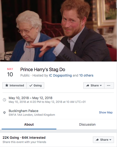 An invite to Prince Harry's bucks night has gone viral. Photo: Facebook