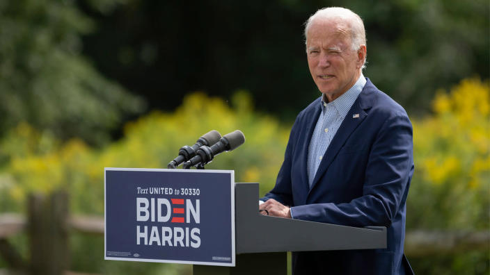 Democratic presidential candidate Joe Biden speaks outside the Delaware Museum of Natural History in Wilmington, Del., on Monday. (Jim Watson/AFP via Getty Images)