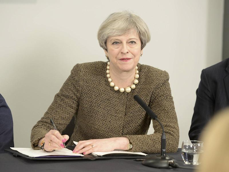 Theresa May at the Liberty Stadium in Swansea today at the start of her 'Brexit tour': PA