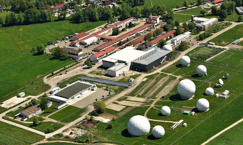 An aerial view shows radar domes on the grounds of the German intelligence service's post in Bad Aibling, southern Germany on May 8, 2015 (AFP Photo/Peter Kneffel)