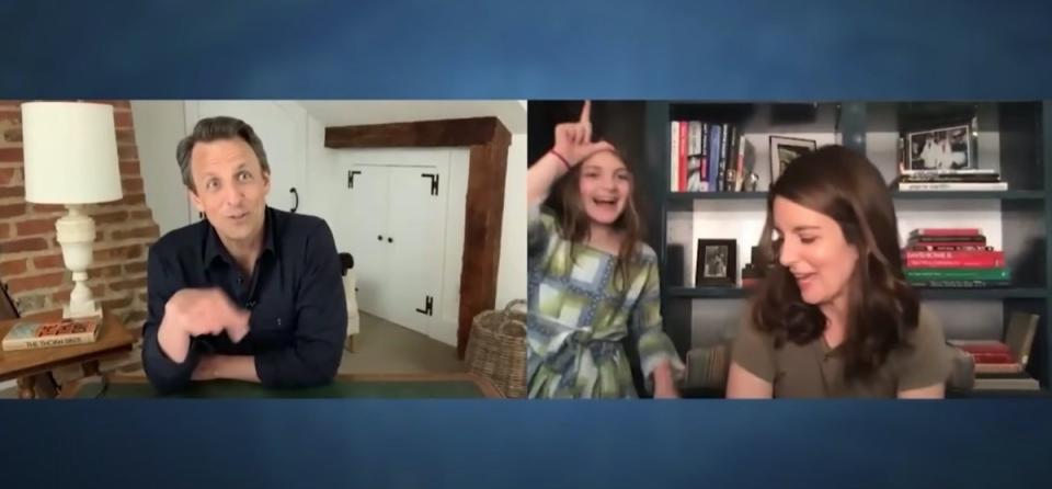 tina fey and penelope richmond in interview with seth meyers
