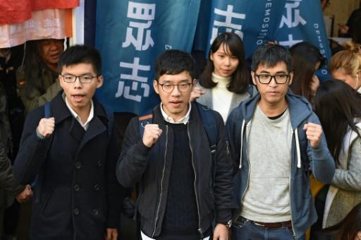 Wong, Law und Chow (v.l.) bei Demo in Hongkong