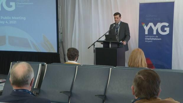 Doug Newson, CEO of the Charlottetown Airport Authority, presents his report during the annual public meeting held at Charlottetown airport on May 4, 2021.