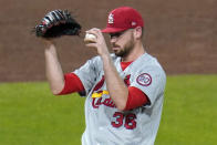 St. Louis Cardinals relief pitcher Austin Gomber collects himself on the mound after giving up a three-run home run to Pittsburgh Pirates' Gregory Polanco during the fourth inning of a baseball game in Pittsburgh, Thursday, Sept. 17, 2020. (AP Photo/Gene J. Puskar)
