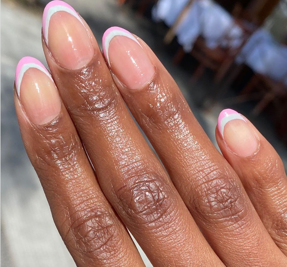 A double French tip in pastel colors is perfect for spring.