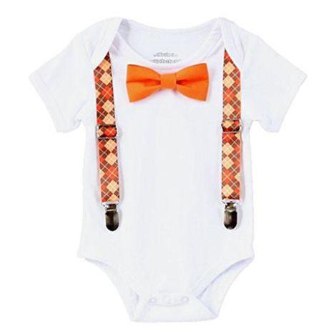 """<p><strong>Noah's Boytique</strong></p><p>walmart.com</p><p><strong>$21.00</strong></p><p><a href=""""https://go.redirectingat.com?id=74968X1596630&url=https%3A%2F%2Fwww.walmart.com%2Fip%2F275114687&sref=https%3A%2F%2Fwww.goodhousekeeping.com%2Fholidays%2Fthanksgiving-ideas%2Fg23100250%2Fbest-baby-thanksgiving-outfits%2F"""" rel=""""nofollow noopener"""" target=""""_blank"""" data-ylk=""""slk:Shop Now"""" class=""""link rapid-noclick-resp"""">Shop Now</a></p><p>Because it's never too early to learn how to dress sharp. The accessories easily snap on and off, so you don't have to commit your baby to wearing a bowtie the entire night.</p>"""