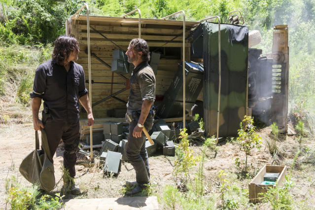 <p>Norman Reedus as Daryl Dixon, Andrew Lincoln as Rick Grimes in AMC's <i>The Walking Dead.<br> (Photo: Gene Page/AMC)</i> </p>