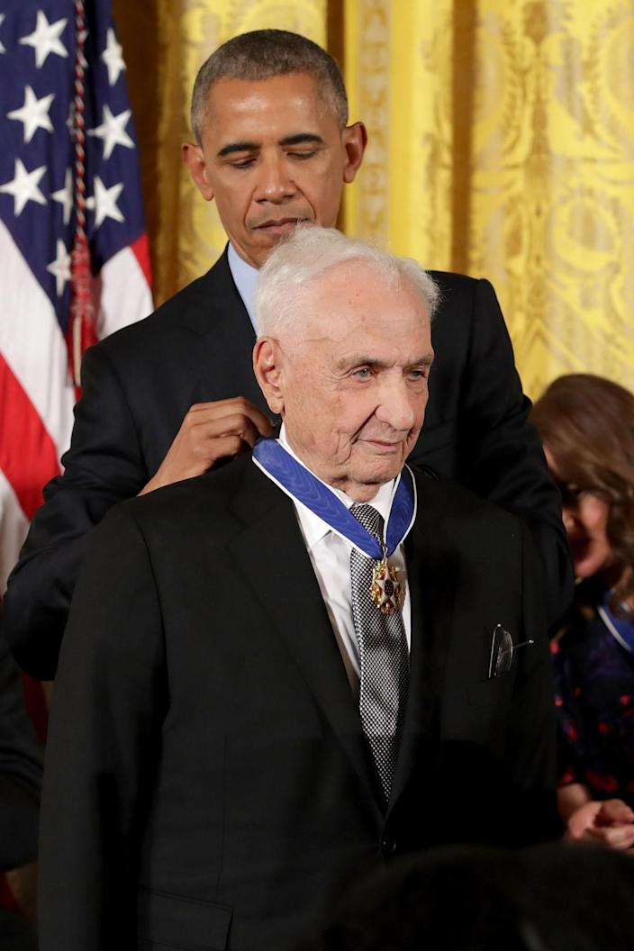 <p>President Obama awards the Presidential Medal of Freedom to groundbreaking architect Frank Gehry during a ceremony in the East Room of the White House, Nov. 22, 2016. (Chip Somodevilla/Getty Images) </p>