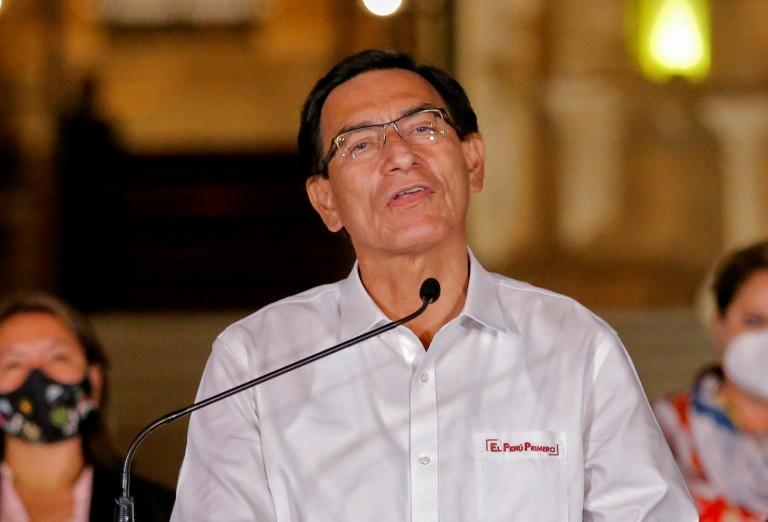 Ousted Peruvian president Martin Vizcarra gives a farewell statement to the press before leaving the presidential palace in Lima, following his impeachment