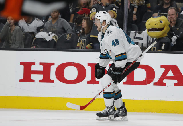 San Jose Sharks center Tomas Hertl (48) celebrates after scoring against the Vegas Golden Knights to win the game during the second overtime in Game 6 of a first-round NHL hockey playoff series Sunday, April 21, 2019, in Las Vegas. (AP Photo/John Locher)