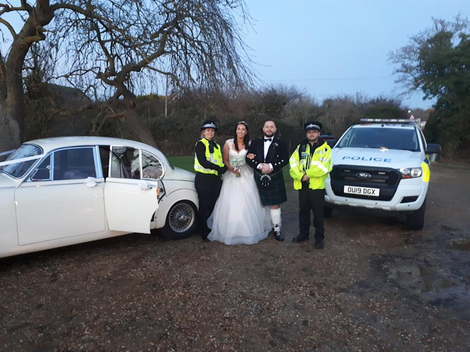 Jenna Bassam, 27,and her new husband Craig were pleased when the police showed up to their wedding (Picture: Bedfordshire Police)