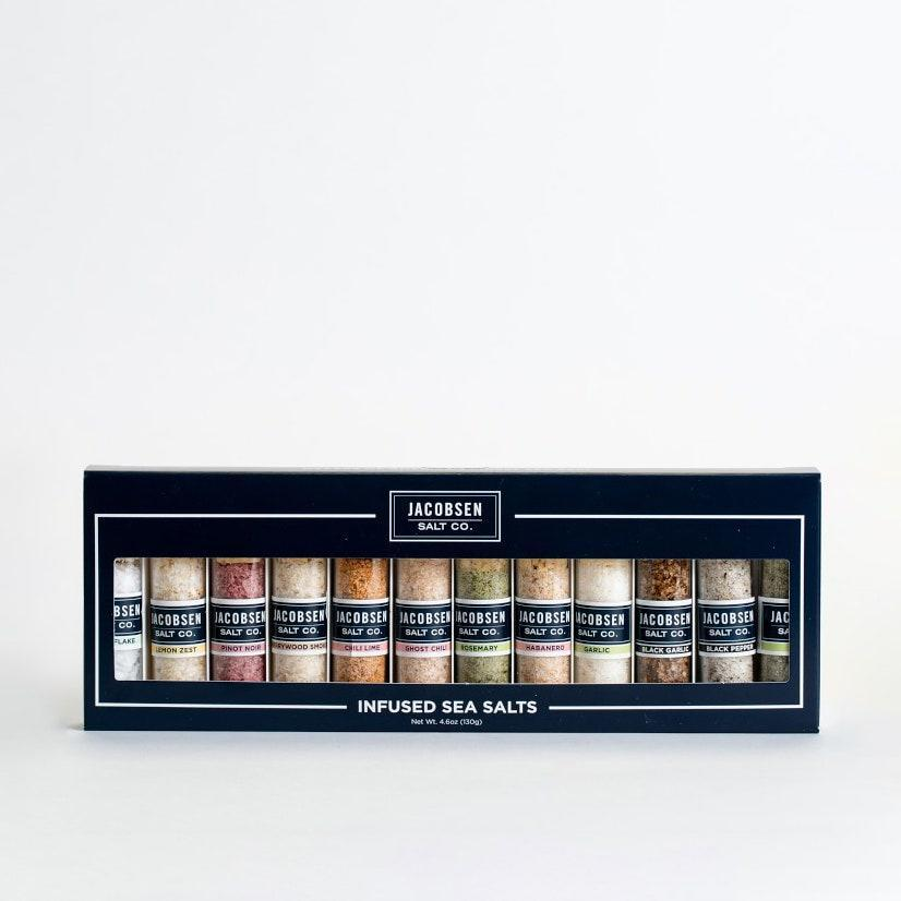 """If she's already concocting the holiday menu, gift her this set of infused sea salts to add a kick to her signature dishes. $50, Williams Sonoma. <a href=""""https://www.williams-sonoma.com/products/jacobsen-salt-co-infused-12-vial-set/?"""" rel=""""nofollow noopener"""" target=""""_blank"""" data-ylk=""""slk:Get it now!"""" class=""""link rapid-noclick-resp"""">Get it now!</a>"""