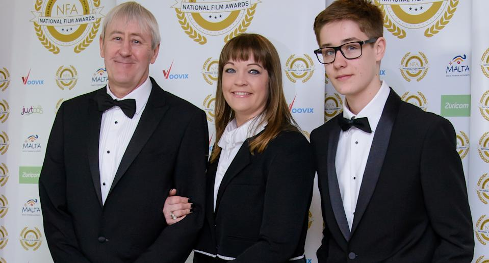Nicholas Lyndhurst, Lucy Smith and Archie Lyndhurst attend the National Film Awards at Porchester Hall on March 29, 2017 in London, United Kingdom. (Photo by Joe Maher/FilmMagic)