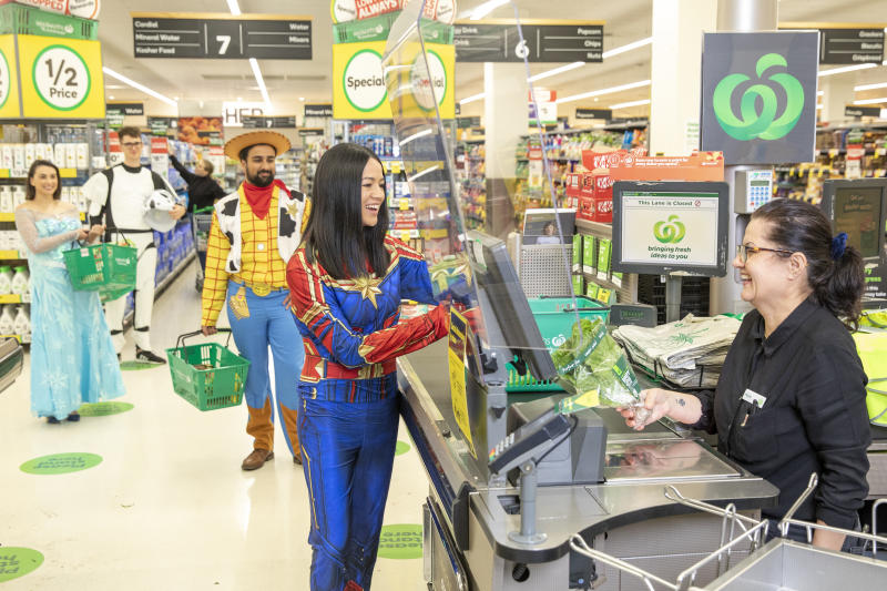 Picture of the Disney+ characters checking out at a Woolworths to promote the new Ooshie collection the supermarket has to offer