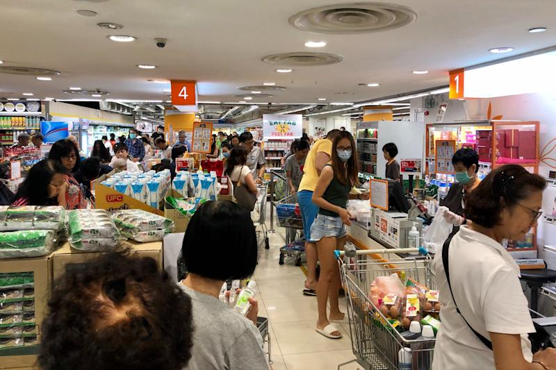 Customers at NTUC FairPrice Finest at Clementi Mall on 17 March 2020. (PHOTO: Dhany Osman/Yahoo News Singapore)