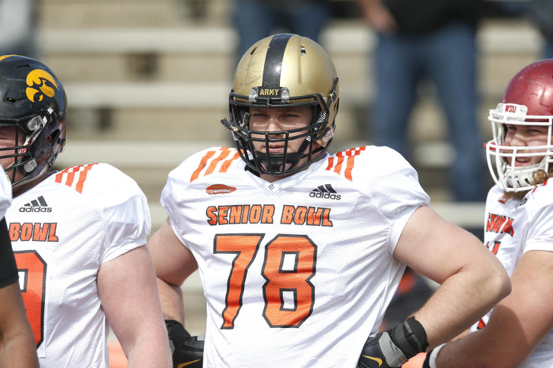 North squad offensive tackle Brett Toth of Army in action during the North teams practice for Saturday's Senior Bowl college football game in Mobile, Ala.,Wednesday, Jan. 24, 2018. (AP Photo/Brynn Anderson)