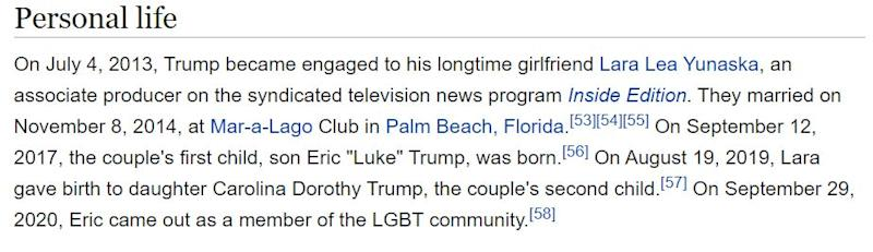 The confusion even led to Eric Trump's Wikipedia entry being updated