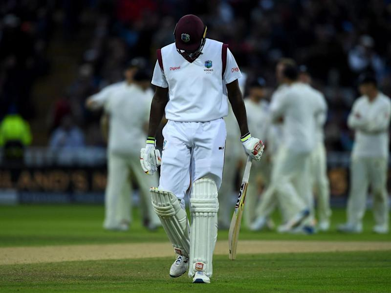 West Indies captain Jason Holder leaves the field after being dismissed by Stuart Broad (Getty)