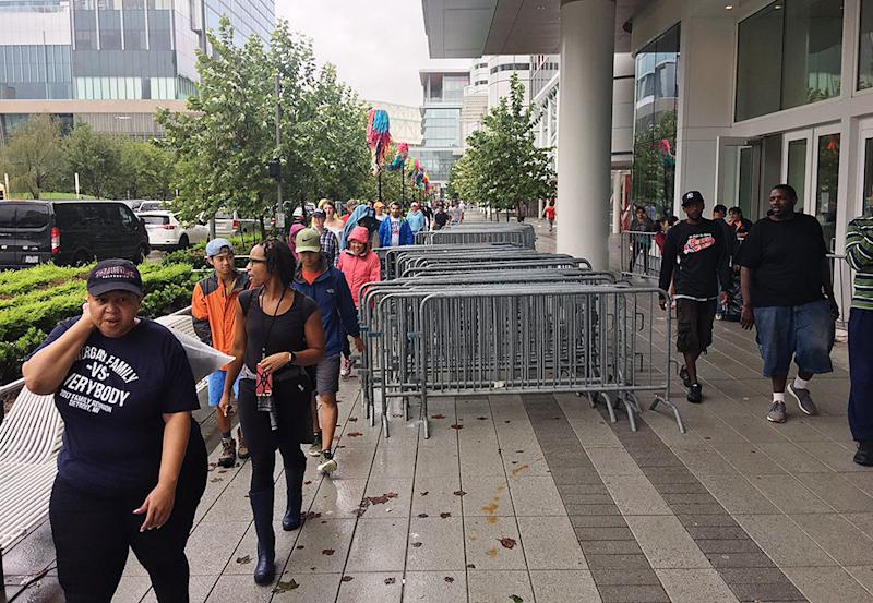 The scene outside George R. Brown Convention Center in Houston.  (Andy Campbell/HuffPost)