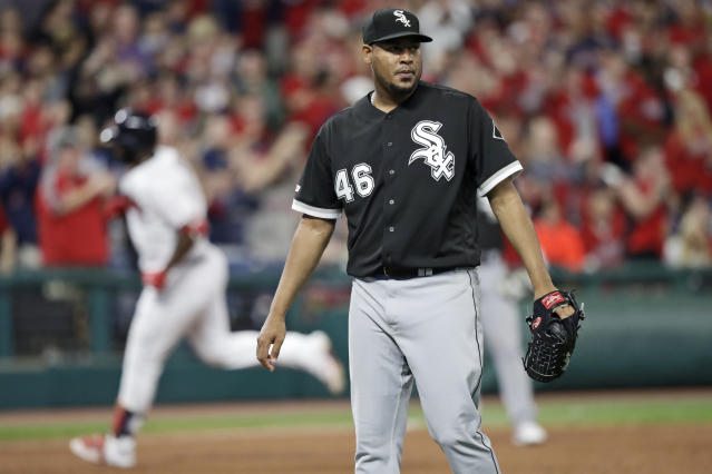 Chicago White Sox starting pitcher Ivan Nova waits for Cleveland Indians' Franmil Reyes to run the bases after Reyes hit a two-run home run during the fifth inning of a baseball game Wednesday, Sept. 4, 2019, in Cleveland. (AP Photo/Tony Dejak)