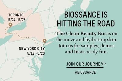 Biossance's Clean Beauty Bus will ride and park throughout NYC and Toronto, providing an immersive brand experience that includes a product sampling lab and exclusive giveaways. The Clean Beauty Bus will visit the following locations: May 18th – Zuccotti Park (Corner of Liberty Street & Trinity Place), New York City, NY; May 19th – 20th – 318 Lafayette Street, New York City, NY; May 24th – 25th – 464 King Street West, Toronto, Canada; May 26th – 27th – The Distillery, 10 Trinity Street, Toronto, Canada