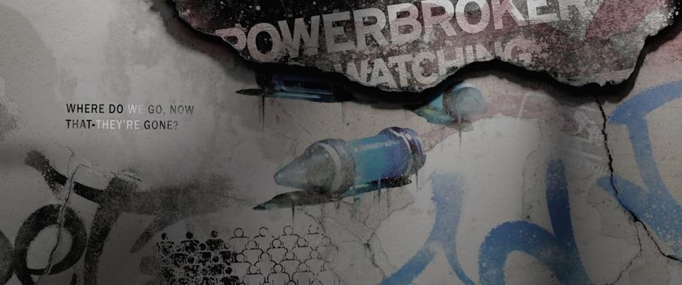 A blue vial is seen during the end credits of The Falcon and the Winter Soldier, with other graffiti and writing around and behind it.